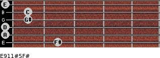E9/11#5/F# for guitar on frets 2, 0, 0, 1, 1, 0