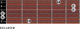 E9/11#5/F# for guitar on frets 2, 0, 0, 5, 5, 4