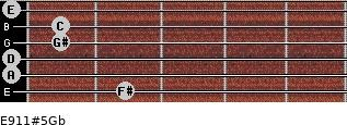 E9/11#5/Gb for guitar on frets 2, 0, 0, 1, 1, 0