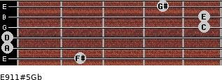 E9/11#5/Gb for guitar on frets 2, 0, 0, 5, 5, 4