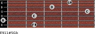 E9/11#5/Gb for guitar on frets 2, 0, 2, 5, 3, 4