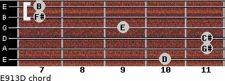 E9/13/D for guitar on frets 10, 11, 11, 9, 7, 7