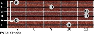 E9/13/D for guitar on frets 10, 7, 11, 11, 9, 7