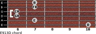 E9/13/D for guitar on frets 10, 7, 6, 6, 7, 7