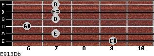 E9/13/Db for guitar on frets 9, 7, 6, 7, 7, 7