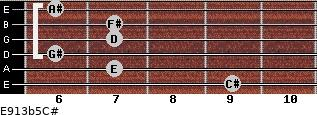 E9/13b5/C# for guitar on frets 9, 7, 6, 7, 7, 6