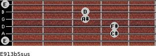 E9/13b5sus for guitar on frets 0, 4, 4, 3, 3, 0