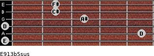 E9/13b5sus for guitar on frets 0, 5, 0, 3, 2, 2