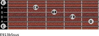E9/13b5sus for guitar on frets 0, 5, 4, 3, 2, 0