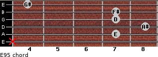 E9(-5) for guitar on frets x, 7, 8, 7, 7, 4