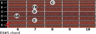 E9#5 for guitar on frets x, 7, 6, 7, 7, 8