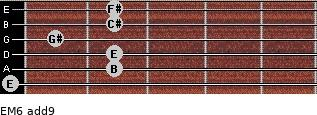 EM6(add9) for guitar on frets 0, 2, 2, 1, 2, 2
