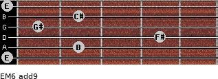 EM6(add9) for guitar on frets 0, 2, 4, 1, 2, 0