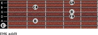 EM6(add9) for guitar on frets 0, 2, 4, 4, 2, 4