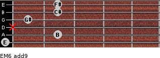 EM6(add9) for guitar on frets 0, 2, x, 1, 2, 2