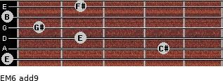EM6(add9) for guitar on frets 0, 4, 2, 1, 0, 2