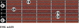 EM6(add9) for guitar on frets 0, 4, 4, 1, 0, 2