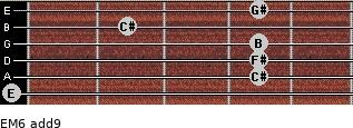 EM6(add9) for guitar on frets 0, 4, 4, 4, 2, 4