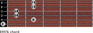 EM7/6 for guitar on frets 0, 2, 1, 1, 2, 2