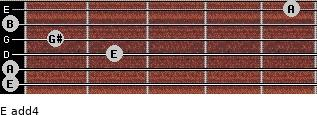 E add(4) for guitar on frets 0, 0, 2, 1, 0, 5