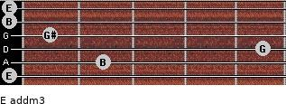 E add(m3) for guitar on frets 0, 2, 5, 1, 0, 0