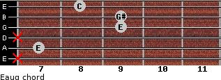 Eaug for guitar on frets x, 7, x, 9, 9, 8