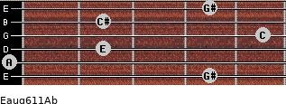 Eaug6/11/Ab for guitar on frets 4, 0, 2, 5, 2, 4