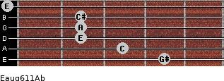 Eaug6/11/Ab for guitar on frets 4, 3, 2, 2, 2, 0