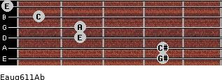 Eaug6/11/Ab for guitar on frets 4, 4, 2, 2, 1, 0
