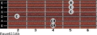 Eaug6/11/Ab for guitar on frets 4, 4, 2, 5, 5, 5