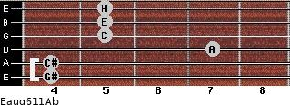 Eaug6/11/Ab for guitar on frets 4, 4, 7, 5, 5, 5