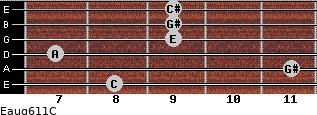 Eaug6/11/C for guitar on frets 8, 11, 7, 9, 9, 9