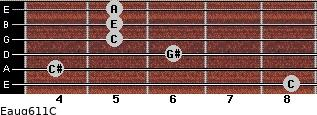Eaug6/11/C for guitar on frets 8, 4, 6, 5, 5, 5