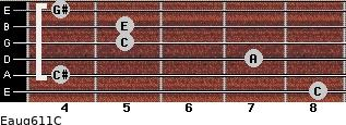 Eaug6/11/C for guitar on frets 8, 4, 7, 5, 5, 4
