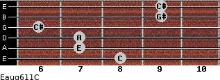 Eaug6/11/C for guitar on frets 8, 7, 7, 6, 9, 9