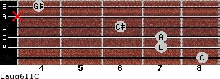 Eaug6/11/C for guitar on frets 8, 7, 7, 6, x, 4