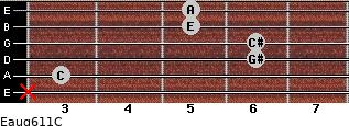 Eaug6/11/C for guitar on frets x, 3, 6, 6, 5, 5