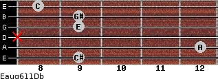 Eaug6/11/Db for guitar on frets 9, 12, x, 9, 9, 8