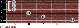 Eaug6/11/Db for guitar on frets 9, 7, 6, 5, 5, 5