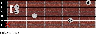 Eaug6/11/Db for guitar on frets x, 4, 2, 1, 1, 5