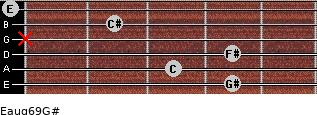 Eaug6/9/G# for guitar on frets 4, 3, 4, x, 2, 0