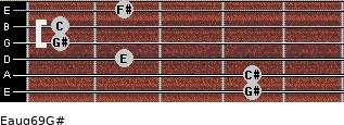 Eaug6/9/G# for guitar on frets 4, 4, 2, 1, 1, 2