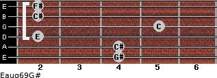 Eaug6/9/G# for guitar on frets 4, 4, 2, 5, 2, 2