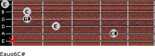 Eaug6/C# for guitar on frets x, 4, 2, 1, 1, 0