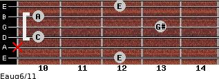 Eaug6/11 for guitar on frets 12, x, 10, 13, 10, 12