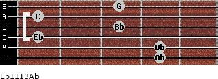 Eb11/13/Ab for guitar on frets 4, 4, 1, 3, 1, 3