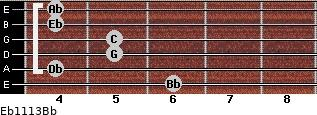 Eb11/13/Bb for guitar on frets 6, 4, 5, 5, 4, 4