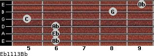 Eb11/13/Bb for guitar on frets 6, 6, 6, 5, 8, 9