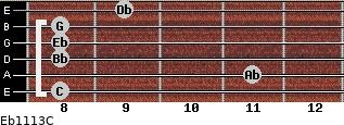 Eb11/13/C for guitar on frets 8, 11, 8, 8, 8, 9