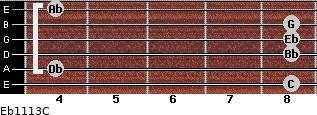 Eb11/13/C for guitar on frets 8, 4, 8, 8, 8, 4